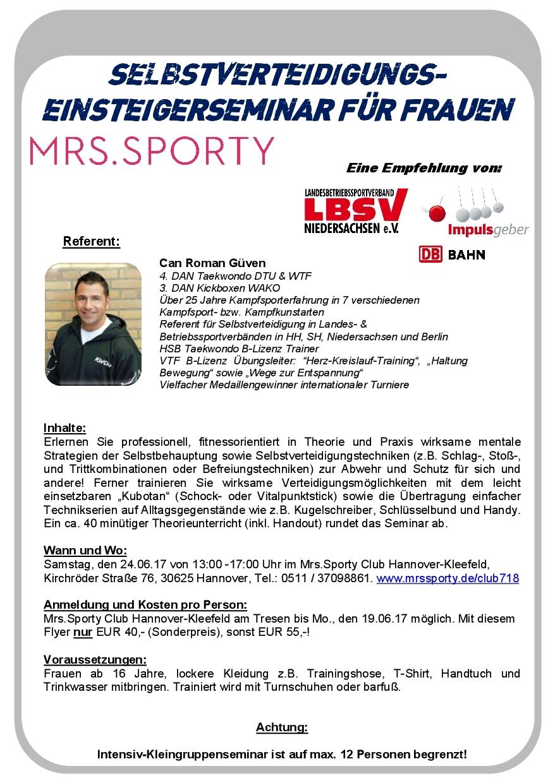 Flyer_SV-Seminar_24.06.17_Sporty_Hannover-Kleefeld_Sonderpreis